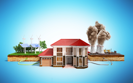 The concept of ecologically clean energy The house is connected to solar panels and weather vanes instead of thermal power stations