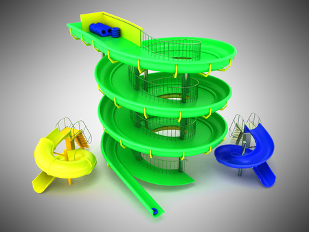 Aquapark water carousels green, blue, yellow 3d render on gray background