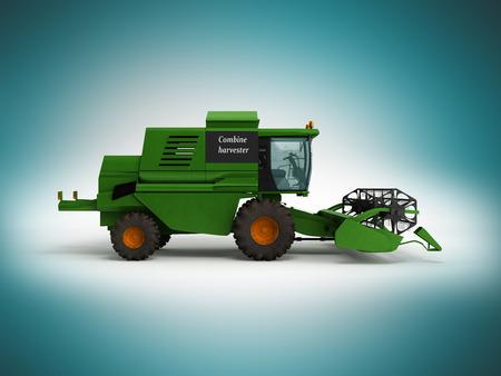 Combine harvester green 3d render on blue background