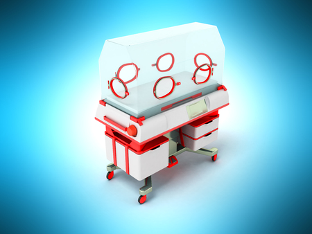 Incubator for children red perspective 3D render on a blue background