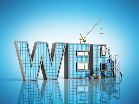 web development concept Builders are working on the inscription WEB 3d illustration on blue Stock Photo