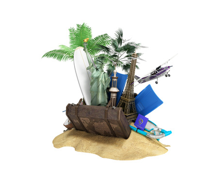 Concept of travel and tourism attractions and brown suitcase for travel 3D illustration on white no shadow