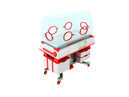 Incubator for children red perspective 3D render on a white background no shadow