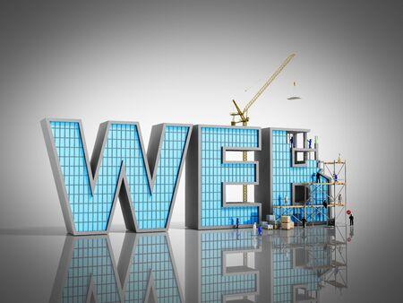 web 開発コンセプト ビルダー碑文 WEB に取り組んでいるグレーの 3 d 図
