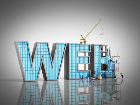 web development concept Builders are working on the inscription WEB 3d illustration on grey Stok Fotoğraf - 80731107