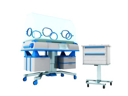 Incubator for children blue front 3d rendering on white background no shadow