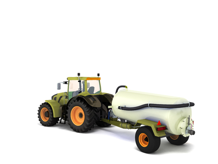 Tractor with a tank 3d rendering on a white background