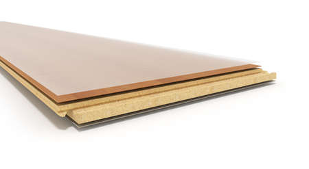 subflooring: Laminate on layers 3d render on white background