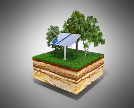 cross: Concept of alternative energy 3d illustration of cross section of ground with grass isolated on grey