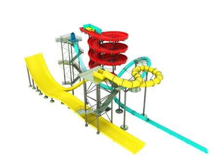 Aquapark water carousels 3d render on white background no shadow