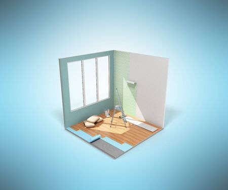 Concept of repair work isometric low poly home room renovation icon 3d render on blue Stock Photo