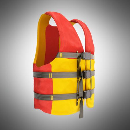 구명 조끼 빨간색 노란색 3d 렌더링 회색 배경