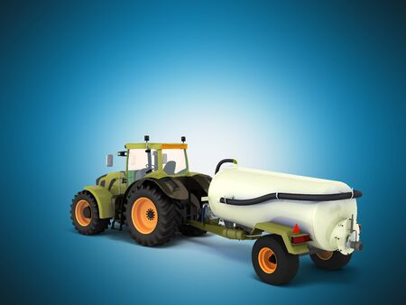 Tractor with a tank 3d rendering on a blue background