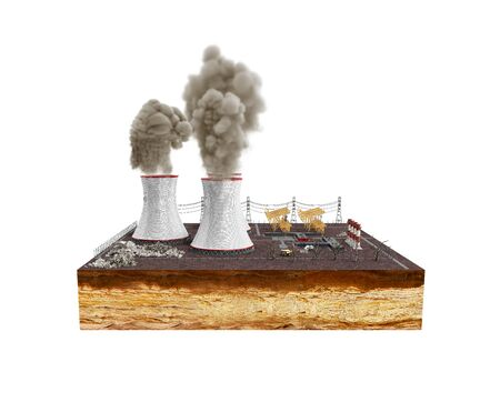 The concept of ecologically problems The thermal power stations 3d render on white no shadow