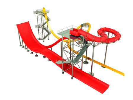 plastic pipe: Water park rides red yellow 3d rendering on white background no shadow