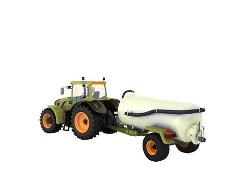Tractor with a tank 3d rendering on a white background no shadow Stock Photo