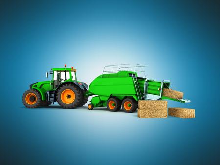 Baler-baler for tractor 3d render on blue background Stock Photo