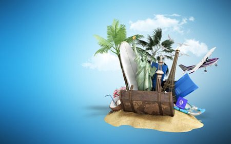 Concept of travel and tourism attractions and brown suitcase for travel 3D illustration on blue greadient Stock Photo