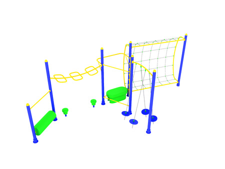Playground blue yellow 3d render on white background no shadow Stock Photo