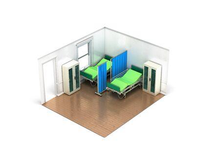 Isometric medical room 3d render on white background Stock Photo