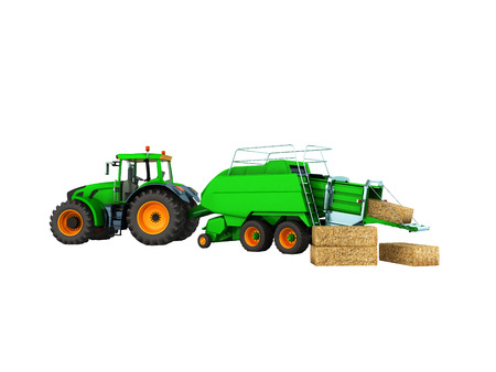 Baler-baler for tractor 3d render on white background no shadow Stock Photo