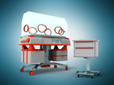 premature: Incubator for children 3d render on blue background