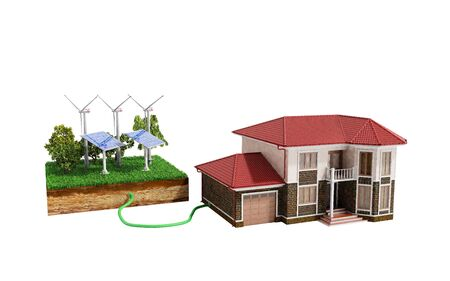 The concept of ecologically clean energy The house is connected to solar panels  3d render on white no shadow