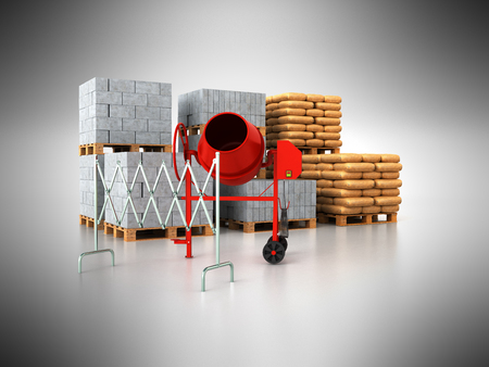 Building materials pallets 3d render on gray background