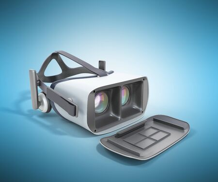 viewer: Black and White VR Virtual Reality Headset Isolated on blue Background 3D Illustration