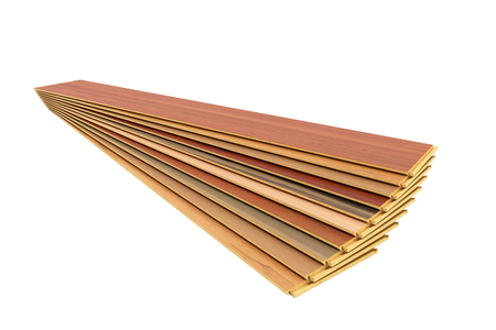 Set of wooden laminated construction planks isolated on white background no shadow