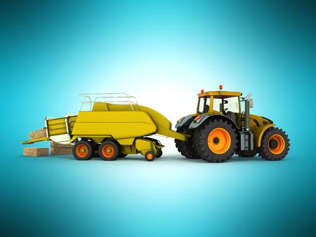Press baler for hay tractor 3d render on blue background