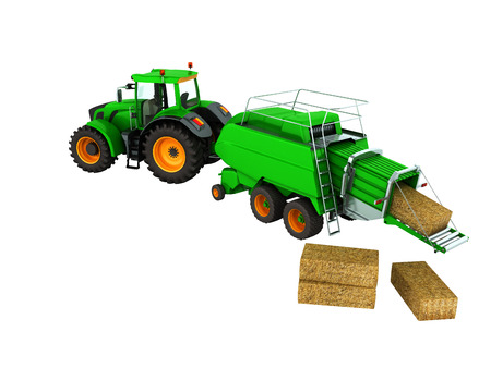 Baler bales perspective 3d render on white background no shadow Stock Photo