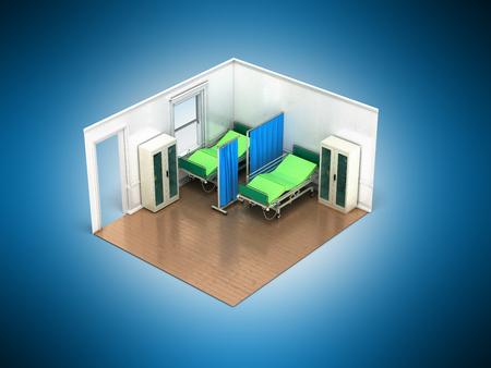 Isometric medical room 3d render on blue background