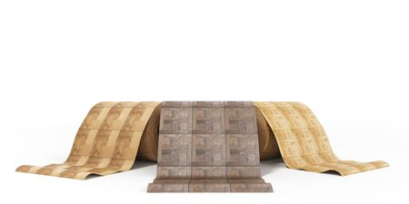 timber floor: rolls of linoleum with wood texture 3d illustration on white