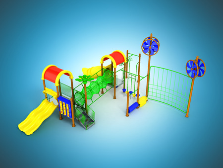 Childrens motley playground green 3d render on a blue background