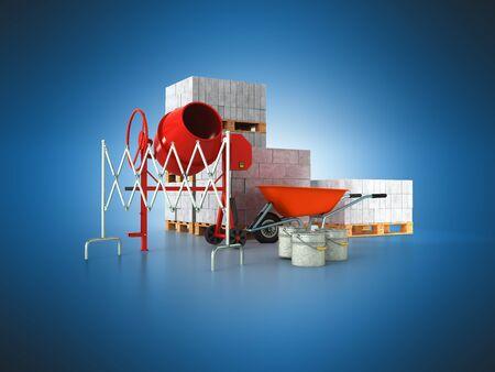 Building materials concrete blocks 3d render on blue background Stock Photo