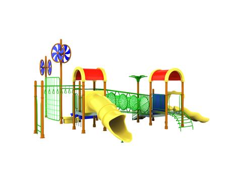 Parque infantil montaña rusa amarillo verde 3d hacer sobre fondo blanco sin sombra Foto de archivo - 81438319
