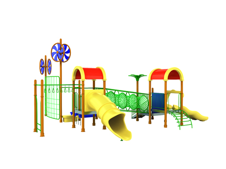 Playground roller coaster yellow green 3d render on white background no shadow Reklamní fotografie - 81438319