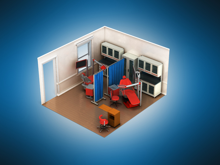 Isometric dental beige room 3d rendering on blue background