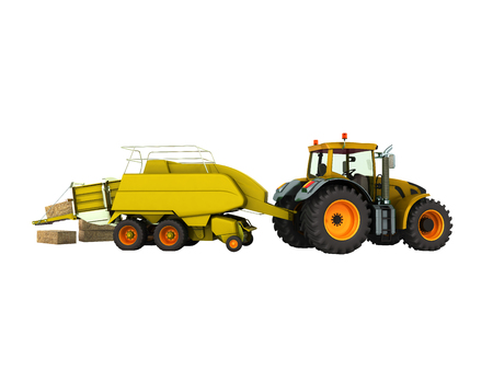 Press baler for hay tractor 3d render on white background no shadow