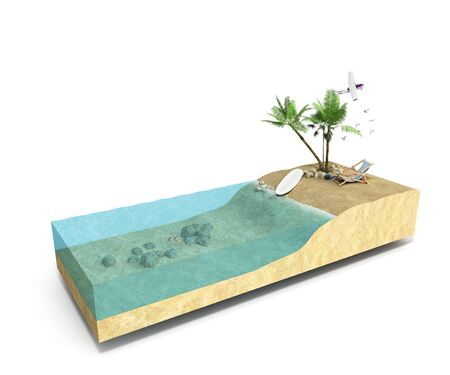 lagoon: Piece of tropical island with water and palms on a beach in cross section Unusual travel 3d illustration Isolated on white