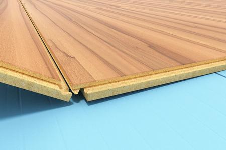 라미네이트 바닥재를 배치하는 단열 및 방음 시트가있는 목재 라미네이트 바닥 설치 단계별 3 차원 렌더링