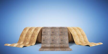 rolls of linoleum with wood texture 3d illustration on blue