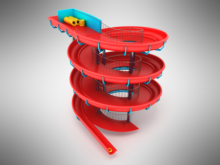 Screw water slides red 3d render on gray background