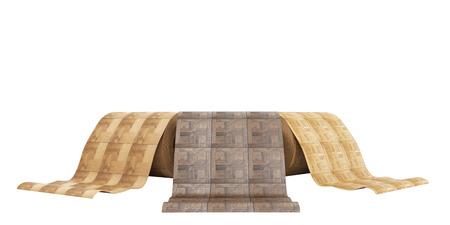 Rouleaux de linoléum avec texture en bois 3d illustration sur blanc pas d'ombre