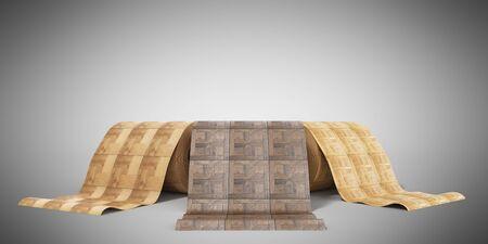 rolls of linoleum with wood texture 3d illustration on grey