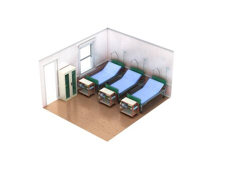 Isometric medical room three bed 3d render not white background no shadow