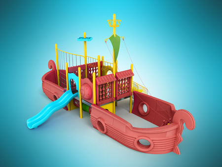 Playground for children ship red 3d render on a blue background Stock Photo