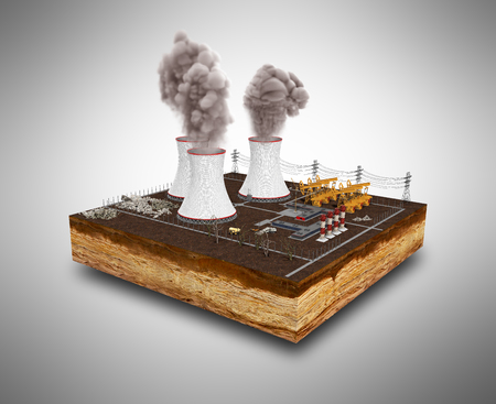 The concept of ecologically problems The thermal power stations 3d render on grey Stok Fotoğraf - 81873748