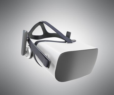 d08c05c816 Black and White VR Virtual Reality Headset Isolated on grey Background 3D  Illustration